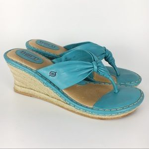 Born Aralyn Turquoise Blue Wedge Sandals Size 11